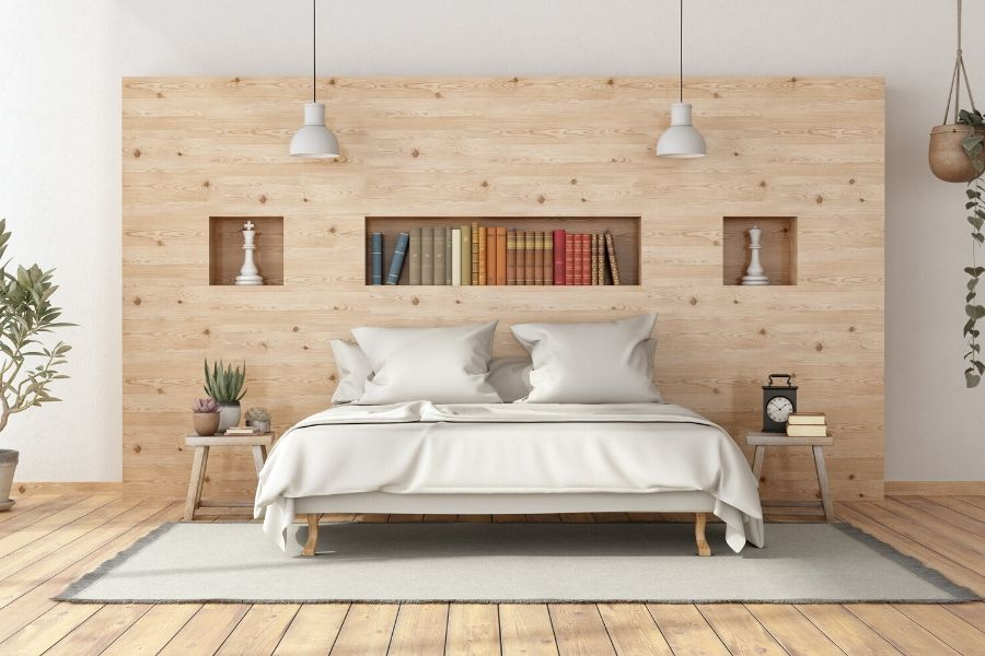 bedroom with alder wood furniture